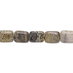 Bead, Landscape Stone (natural), 10x8mm-11x9mm Puffed Rectangle, C Grade, Mohs Hardness 3-1/2 4. Sold Per 15-inch Strand