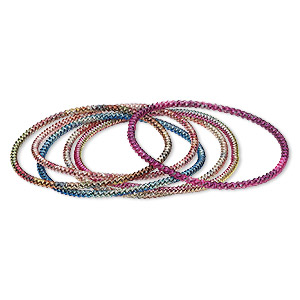 Bracelet Mix, Stretch, Painted Steel, Multicolored, 3mm Twisted Coil, 7 Inches. Sold Per Pkg 6