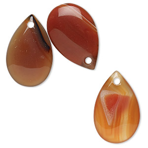 Drop, Red Agate (dyed / Heated), 23x15mm Teardrop, C Grade, Mohs Hardness 6-1/2 7. Sold Per Pkg 3