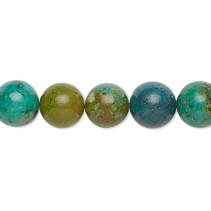 Bead, Magnesite (dyed / Stabilized), Green Teal, 10-11mm Round, C Grade, Mohs Hardness 3-1/2 4. Sold Per 16-inch Strand