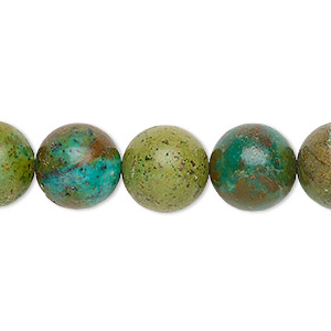 Bead, Magnesite (dyed / Stabilized), Green Teal, 12-13mm Round, C Grade, Mohs Hardness 3-1/2 4. Sold Per 16-inch Strand