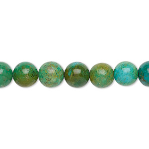Bead, Magnesite (dyed / Stabilized), Green Teal, 8-9mm Round, C Grade, Mohs Hardness 3-1/2 4. Sold Per 16-inch Strand