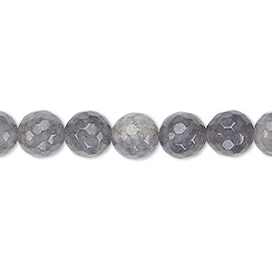 Bead, Grey Crackle Agate (dyed / Heated), 7-8mm Faceted Round, B Grade, Mohs Hardness 6-1/2 7. Sold Per 15-inch Strand