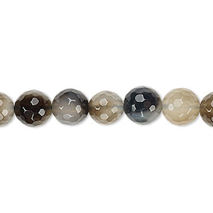 Bead, Grey Agate (dyed), 8-9mm Faceted Round, B- Grade, Mohs Hardness 6-1/2 7. Sold Per 15-inch Strand