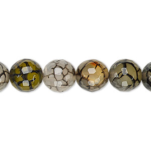 Bead, Grey Crackle Agate (dyed / Heated), 10-11mm Faceted Round, B Grade, Mohs Hardness 6-1/2 7. Sold Per 15-inch Strand