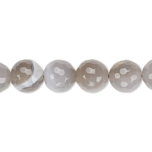 Bead, Grey Agate (dyed / Heated), 10mm Faceted Round, B- Grade, Mohs Hardness 6-1/2 7. Sold Per 15-inch Strand