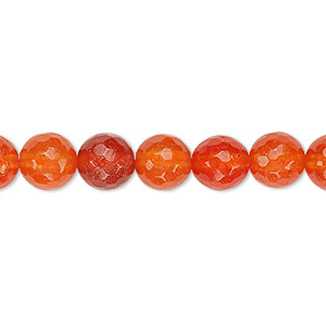 Bead, Agate (dyed / Heated), Red-orange, 8mm Faceted Round, B Grade, Mohs Hardness 6-1/2 7. Sold Per 15-inch Strand