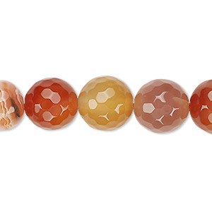 Bead, Red Agate (dyed / Heated), 11-12mm Faceted Round, B Grade, Mohs Hardness 6-1/2 7. Sold Per 15-inch Strand