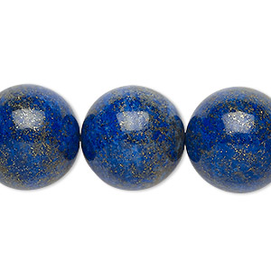 Bead, Lapis Lazuli (natural), 18-19mm Round, B Grade, Mohs Hardness 5 6. Sold Per 8-inch Strand