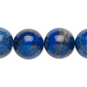 Bead, Lapis Lazuli (natural), 16-17mm Round, C Grade, Mohs Hardness 5 6. Sold Per 8-inch Strand
