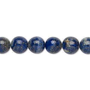 Bead, Lapis Lazuli (natural), 9mm Round, C Grade, Mohs Hardness 5 6. Sold Per 15-inch Strand