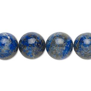 Bead, Lapis Lazuli (natural), 14mm Round, C Grade, Mohs Hardness 5 6. Sold Per 8-inch Strand