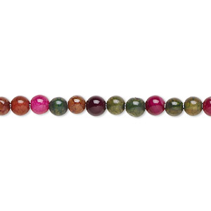 Bead, Multi-agate (dyed / Heated), Multicolored, 3-4mm Round, B- Grade, Mohs Hardness 6-1/2 7. Sold Per 15-inch Strand