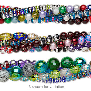Bead Mix, Coated Glass, Mixed Colors, 5x4mm-16x15mm Mixed Shape. Sold Per Pkg (5) 7-inch Strands