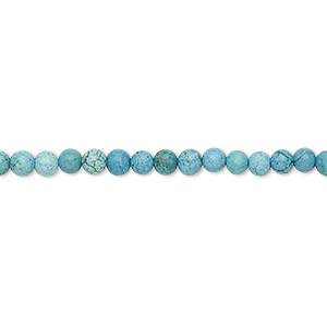 Bead, Magnesite (dyed / Stabilized), Teal Blue, 3-4mm Round, C- Grade, Mohs Hardness 3-1/2 4. Sold Per 15-inch Strand
