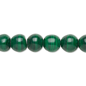 Bead, Malachite (natural), 9-10mm Round, C Grade, Mohs Hardness 3-1/2 4. Sold Per 15-inch Strand