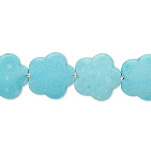 Bead, Magnesite (dyed / Stabilized), Light Blue, 15x15mm Flower, B Grade, Mohs Hardness 3-1/2 4. Sold Per 15-inch Strand