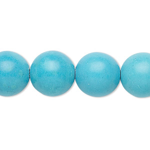 Bead, Magnesite (dyed / Stabilized), Blue, 13-14mm Round, B Grade, Mohs Hardness 3-1/2 4. Sold Per 15-inch Strand