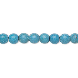 Bead, Magnesite (dyed / Stabilized), Blue, 6-7mm Round, C- Grade, Mohs Hardness 3-1/2 4. Sold Per 15-inch Strand