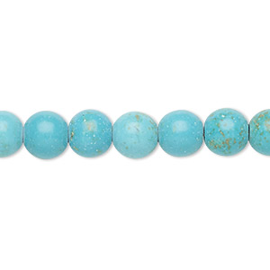 Bead, Magnesite (dyed / Stabilized), Light Blue, 8-9mm Round, C Grade, Mohs Hardness 3-1/2 4. Sold Per 15-inch Strand