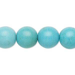 Bead, Magnesite (dyed / Stabilized), Light Blue, 13-14mm Round, C Grade, Mohs Hardness 3-1/2 4. Sold Per 15-inch Strand