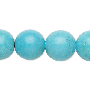 Bead, Magnesite (dyed / Stabilized), Light Blue, 15-16mm Round, C Grade, Mohs Hardness 3-1/2 4. Sold Per 15-inch Strand