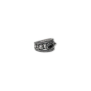 "Ring, Glass Rhinestone Antique Silver-finished ""pewter"" (zinc-based Alloy), Black, 14mm Wide Beaded Round Oval Lines Design, Size 7-1/2. Sold Individually F9103CL"