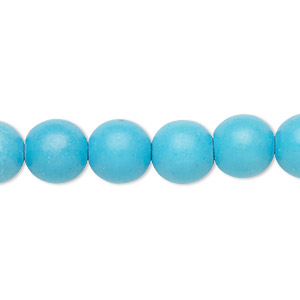 Bead, Magnesite (dyed / Stabilized), Light Blue, 9-10mm Round, C Grade, Mohs Hardness 3-1/2 4. Sold Per 15-inch Strand
