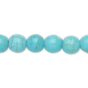 Bead, Magnesite (dyed / Stabilized), Light Blue, 9-10mm Round, C+ Grade, Mohs Hardness 3-1/2 4. Sold Per 15-inch Strand