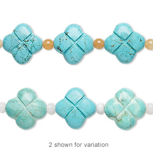 Bead Mix, Turquoise (imitation) / Snow Quartz / Peach Quartz (natural), Light Blue Blue-green, 5mm Round / 7x4mm Rondelle / 22x22mm-23x23mm Carved Flower. Sold Per Pkg 7