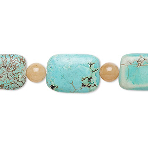 "Bead Mix, ""turquoise"" (imitation) Resin Red Aventurine (natural), Blue-green Blue, 6mm Round 16x11mm-17x13mm Puffed Rectangle. Sold Per Pkg 7"