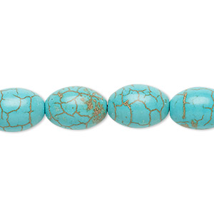 Bead, Magnesite (dyed / Stabilized), Teal, 14x10mm Oval, C Grade, Mohs Hardness 3-1/2 4. Sold Per 15-inch Strand
