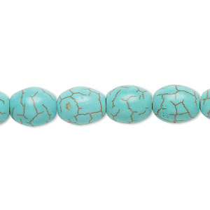 Bead, Magnesite (dyed / Stabilized), Light Teal Green, 11x9mm Oval, C Grade, Mohs Hardness 3-1/2 4. Sold Per 15-inch Strand