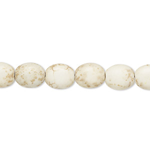 Bead, Magnesite (dyed / Stabilized), Tan, 9x8mm-10x8mm Puffed Oval, C Grade, Mohs Hardness 3-1/2 4. Sold Per 15-inch Strand