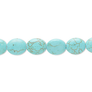 Bead, Magnesite (dyed / Stabilized), Blue-green, 10x8mm-11x9mm Puffed Oval, C Grade, Mohs Hardness 3-1/2 4. Sold Per 15-inch Strand