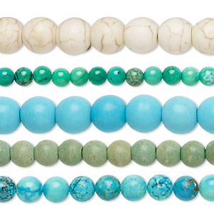 Bead Mix, Magnesite (dyed / Stabilized), Mixed Colors, 2-9mm Round, Mohs Hardness 3-1/2 4. Sold Per Pkg (5) 15-inch Strands