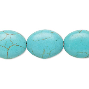 Bead, Magnesite (dyed / Stabilized), Light Blue, 19x15mm-20x15mm Puffed Oval, C Grade, Mohs Hardness 3-1/2 4. Sold Per 15-inch Strand