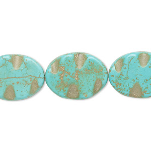 Bead, Magnesite (dyed / Stabilized), Blue-green, 19x15mm-20x15mm Wavy Flat Oval, C Grade, Mohs Hardness 3-1/2 4. Sold Per 15-inch Strand