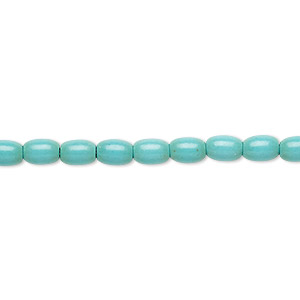 Bead, Magnesite (dyed / Stabilized), Blue-green, 6x4mm Oval, C Grade, Mohs Hardness 3-1/2 4. Sold Per 15-inch Strand