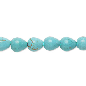 Bead, Magnesite (dyed / Stabilized), Light Blue, 9x8mm-10x8mm Teardrop, C Grade, Mohs Hardness 3-1/2 4. Sold Per 15-inch Strand