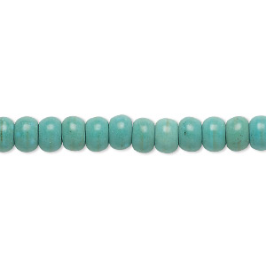 Bead, Magnesite (dyed / Stabilized), Green, 6x4mm Rondelle, C Grade, Mohs Hardness 3-1/2 4. Sold Per 15-inch Strand