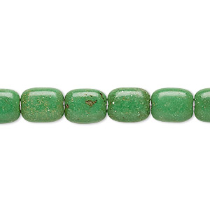Bead, Magnesite (dyed / Stabilized), Apple Green, 10x8mm Puffed Rectangle, C Grade, Mohs Hardness 3-1/2 4. Sold Per 15-inch Strand