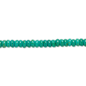 Bead, Magnesite (dyed / Stabilized), Teal Green, 4x2mm-5x3mm Rondelle, C Grade, Mohs Hardness 3-1/2 4. Sold Per 15-inch Strand