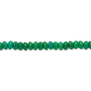 Bead, Magnesite (dyed / Stabilized), Kelly Green, 4x2mm-5x3mm Rondelle, C Grade, Mohs Hardness 3-1/2 4. Sold Per 15-inch Strand