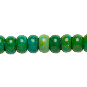 Bead, Magnesite (dyed / Stabilized), Dark Apple Green, 10x6mm Rondelle, C Grade, Mohs Hardness 3-1/2 4. Sold Per 15-inch Strand