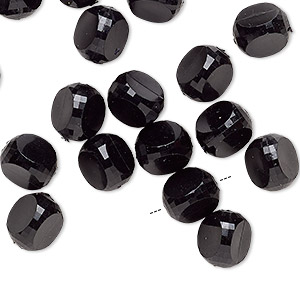 Bead, Vintage German Acrylic, Opaque Black, 9x9x9mm-10x10x10mm Rounded Faceted Triangle. Sold Per Pkg 24