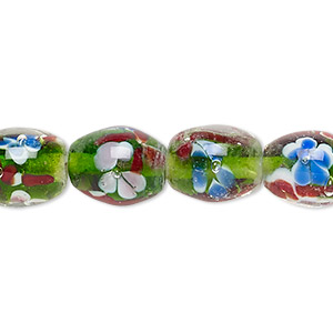 Bead, Lampworked Glass, Clear / Green / Multicolored, 13x10mm-14x11mm Barrel Flower Design. Sold Per 14-inch Strand