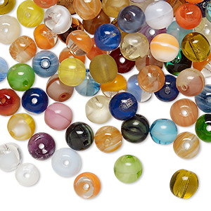 Bead Mix, Vintage German Pressed Glass, Mixed Colors, 5-6mm Round. Sold Per 2-ounce Pkg, Approximately 220 Beads