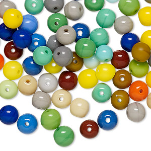 Bead Mix, Vintage German Pressed Glass, Opaque Mixed Colors, 5-6mm Round. Sold Per 2-ounce Pkg, Approximately 220 Beads