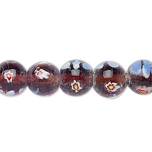 Bead, Lampworked Millefiori Glass, Clear / Purple / Multicolored, 10-11mm Round Flower Design. Sold Per 14-inch Strand